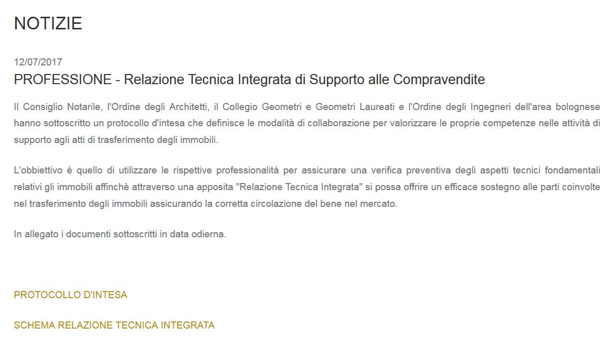relazione tecnica integrata di supporto alle compravendite